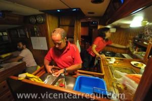 La cocina de a bordo