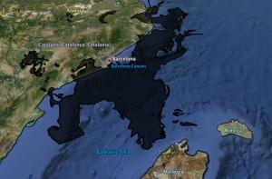 Imagen del vertido de crudo del Golfo de México superpuesta sobre un mapa de Catalunya
